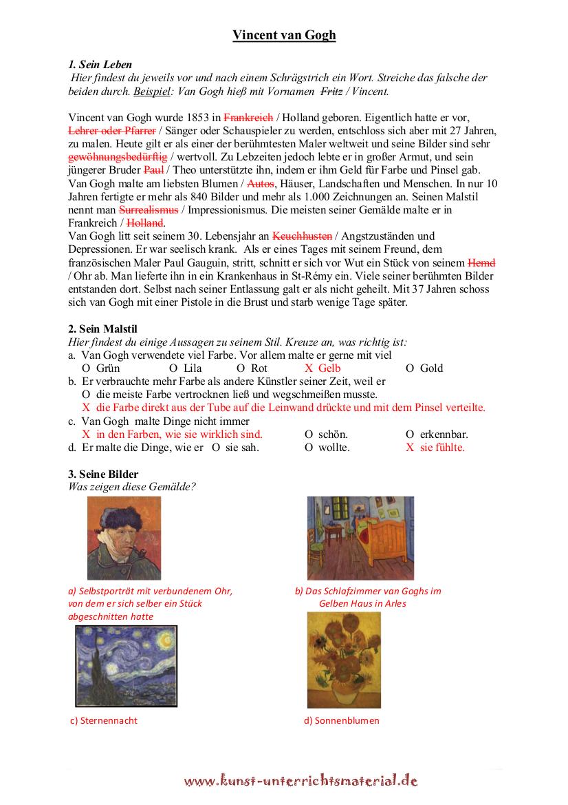 Vincent Van Gogh Biografie Lebenslauf Und Werke Des Malers